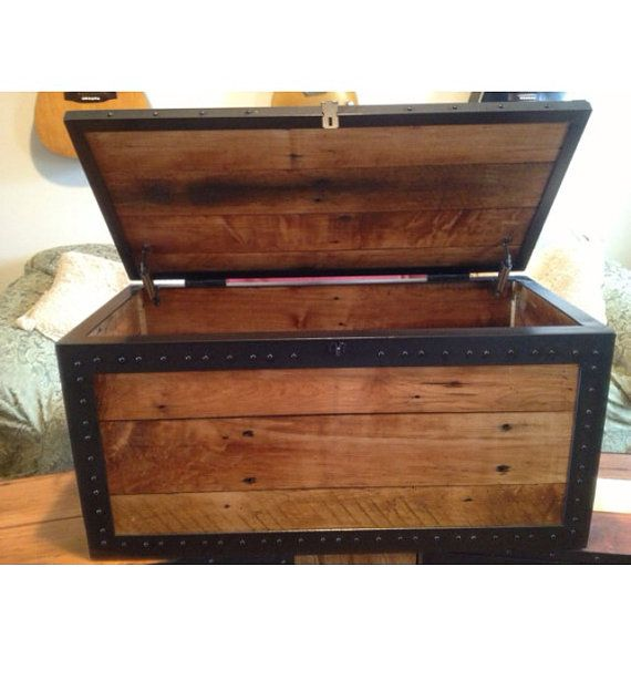 Toy Box Large Solid Wood Storage Chest Trunk Playroom: Handmade Trunk By Widcreativemetals On Etsy