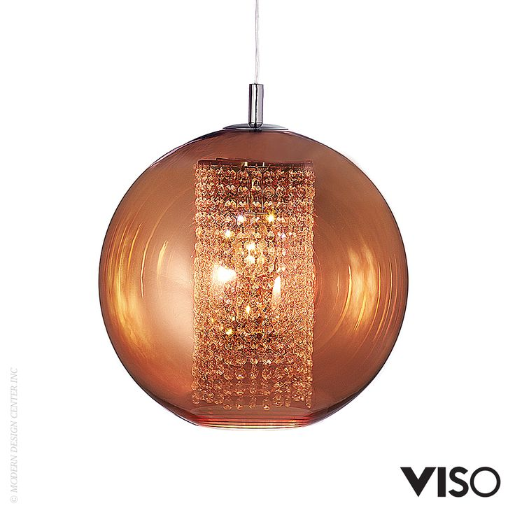 Viso Ulee Pendant Light with it's dazzling crystal core that lights on polycarbonate copper finish