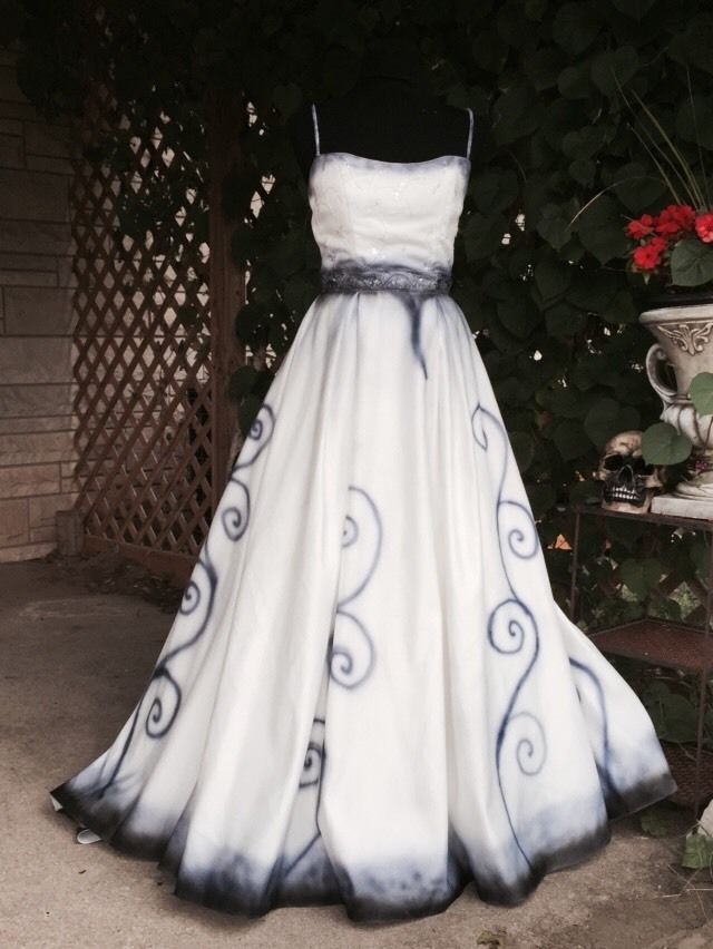 The Corpse Bride Wedding Dress Emily Halloween Costume Sz 10 Hand Painted  #Dress