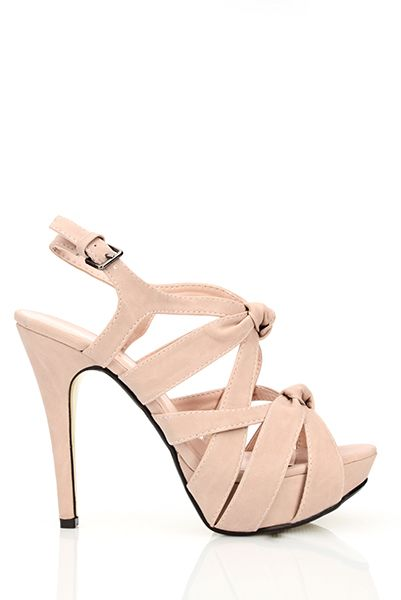 Knotted Faux Leather Straps Sandals