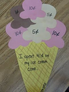 Ice cream cone craft...add up the scoops to see how much it cost.