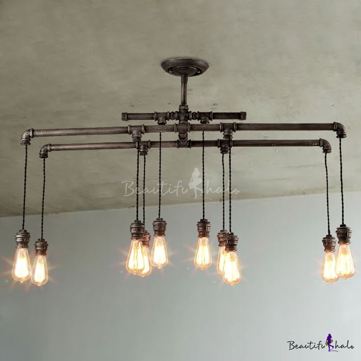 diy pipe lighting. 43 inches wide large 10 light ceiling pendant in steel hanging pipe diy lighting e