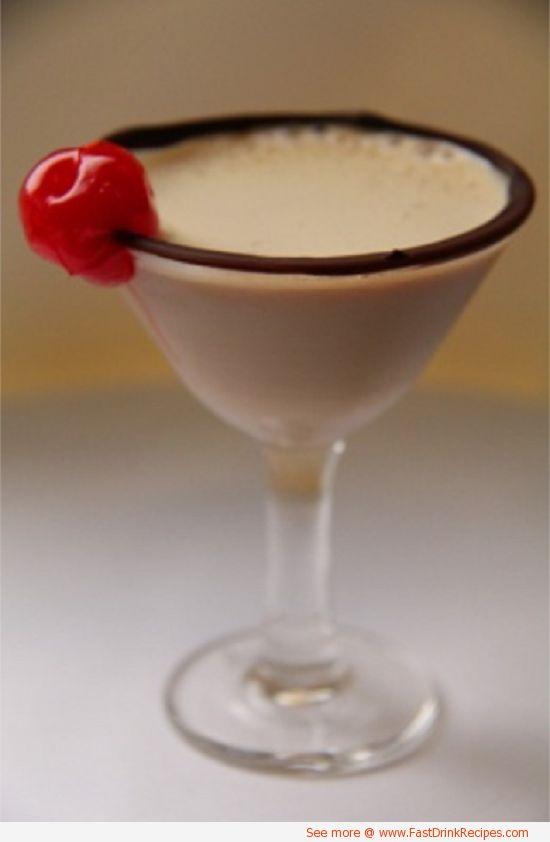 boston cream pie martini | 1 oz. Bailey's Irish cream 1 oz. Vanilla Vodka 1 oz. Frangelico Splash of Godiva chocolate liquer Directions: Chill your martini glass in the freezer. Pour the Bailey's, vanilla vodka, and the Frangelico into a martini shaker filled with ice cubes and shake until cold. Take glass out of the freezer and dip the rim in chocolate sauce. Pour into martini glass and then gently swirl the Godiva on top and serve!