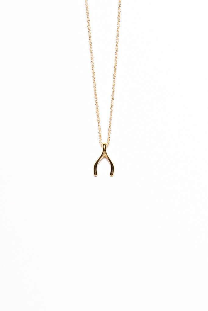 Wishbone Charm Necklace by Viv | $77.00 | athreadholiday