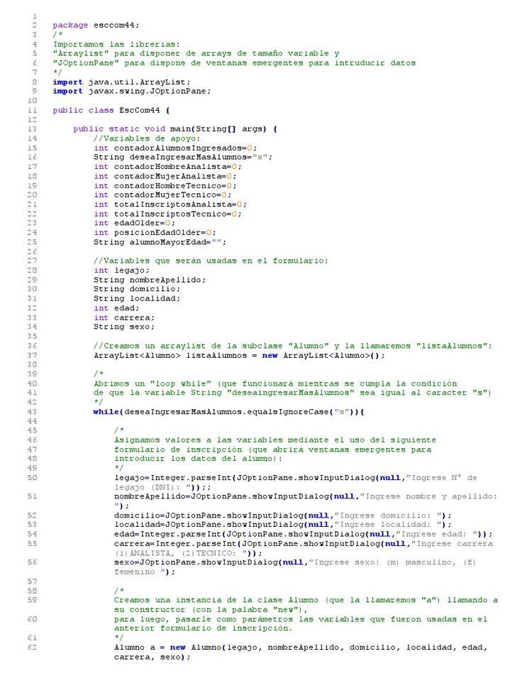 Alumnos Sistemas Galvez: Práctica de Procesamiento de datos I - Ejercicio ARRAYLIST EXPLICADO