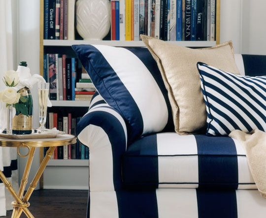Maybe the kind of striped fabric I want for a sofa and love seat...*originally from the Ralph Lauren Le Grand Hotel collection.