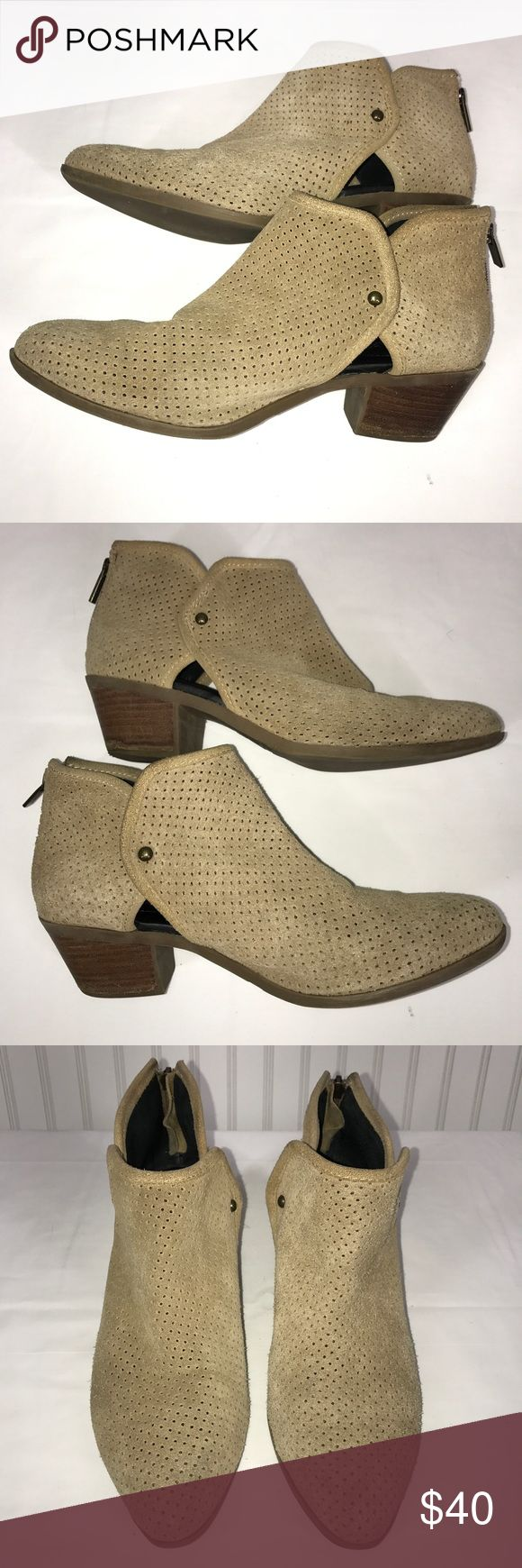 "Adam Tucker Suede Perforated Bootie, Size 9.5 These tan suede perforated ankle booties are in great pre-owned condition. Adam Tucker by me too. They are a Size 9.5 and have a 2"" block heel. Zipper in back adds a nice detail. A few minor marks near zip and some heel wear as shown. Still lots of use left in this bootie. Adam Tucker Shoes Ankle Boots & Booties"