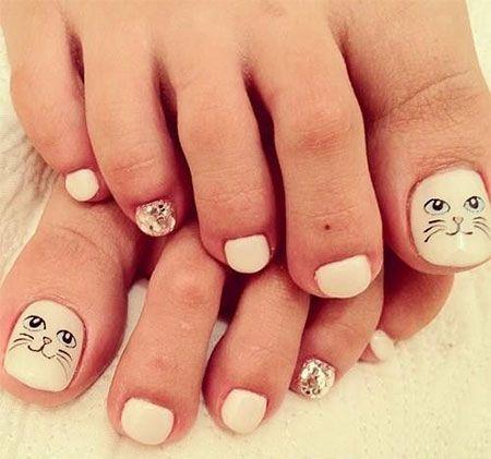 Uñas de los pies pintadas con gatos - Cat toe nails design