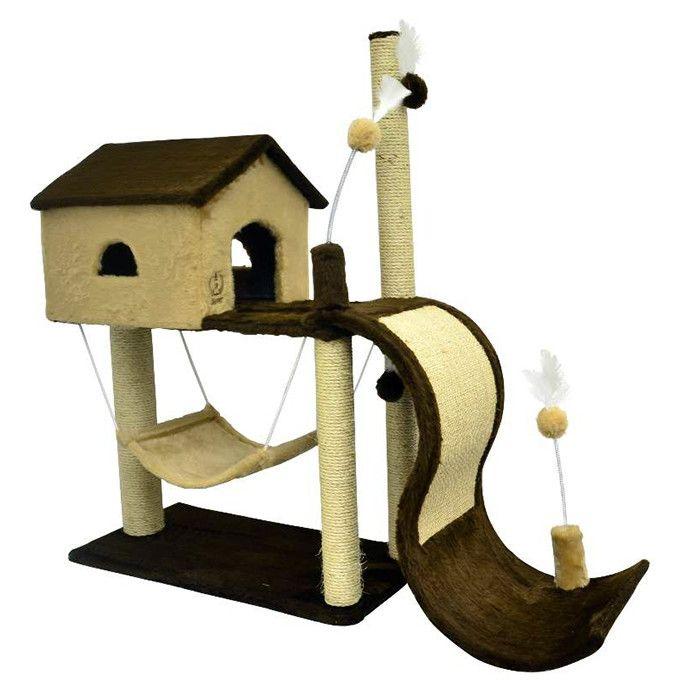 ###Descrição do Produto###    O Arranhador para Gatos House Tobogã , é de excelente qualidade e encapado com pelúcia, sisal e um elástico com uma bolinha para uma melhor distração e divertimento do seu pet.    ###Dicas Pets na Moda###    Ideal para distrair, interagir, brincar, arranhar, combater...