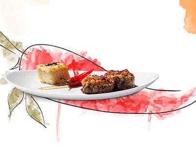 """Traços simples, texturas e cores. Esse era o objetivo proposto: tornar um ingrediente em elemento visual e aliar com fotos de pratos do restaurante junto com o tema """"mar"""", sempre destacando os frutos do mar de procedência local.Simple strokes, textures …"""