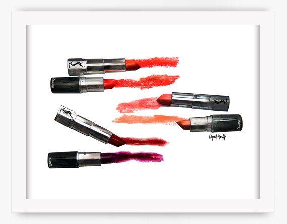 Manchas de lápiz labial CHANEL impresión Arte por aprilmarionART