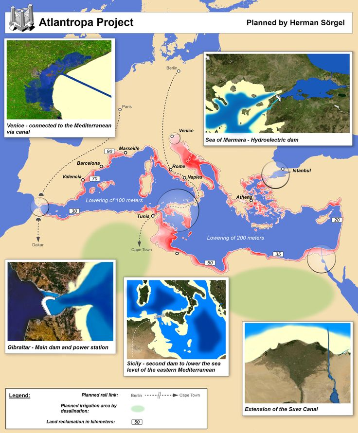 Atlantropa - Wikipedia The project proposed four additional major dams as well:[3][4][5]  Across the Dardanelles to hold back the Black SeaBetween Sicily and Tunisia to provide a roadway and further lower the inner MediterraneanOn the Congo River below its Kwa River tributary to refill the Mega-Chad basin around Lake Chad providing fresh water to irrigate the Sahara and creating a shipping lane to the interior of AfricaSuez Canal extension and locks to maintain Red Sea connection