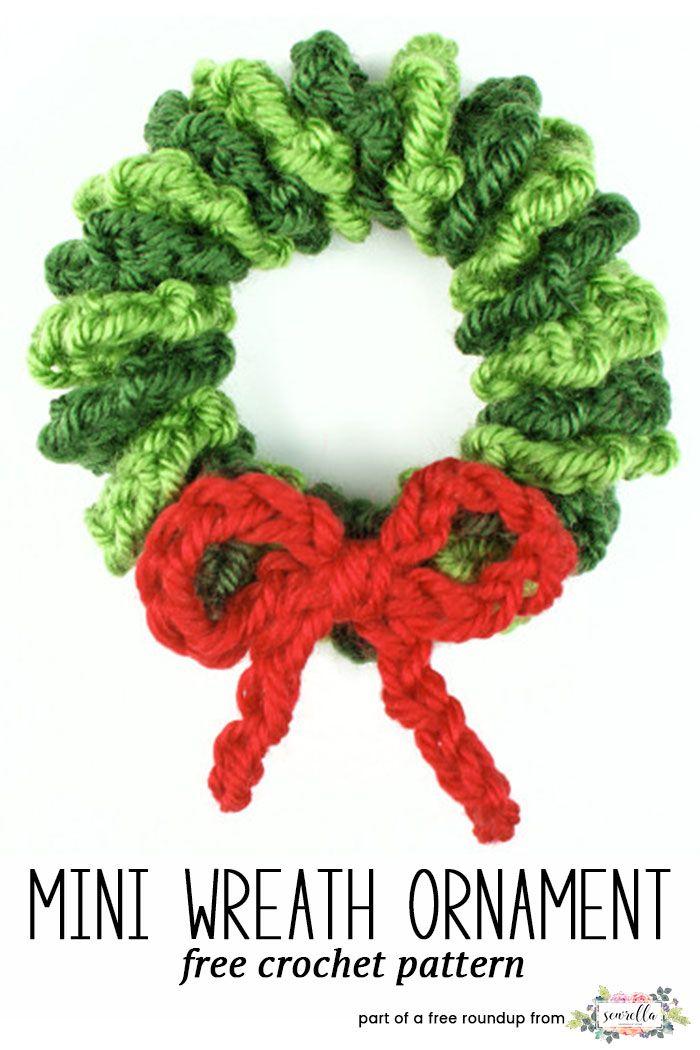Crochet this easy mini wreath ornament or gift topper from Yarn Twist, a free crochet pattern in my festive crochet christmas wreaths roundup!
