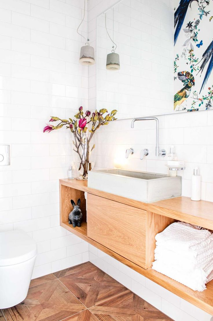 Cibo uber 1200 wall hung vanity from reece - Tiny Powder Room With Wallpaper Wall Hung Vanity Concrete Sink Wall Hung Toilet