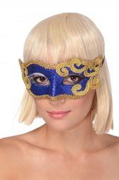 Maska na oczy niebiesko złota