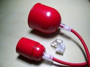 Portalampada #rosso con #cavo rivestito in tessuto rosso e kit #rosone rosso