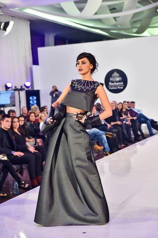 My dress at Bucharest Fashion Week  Designer: Marina Melacca, Sara Cucci, Matteo Seclí Leather, neoprene, mesh, catwalk, black, studs, collar , handbag, haute couture
