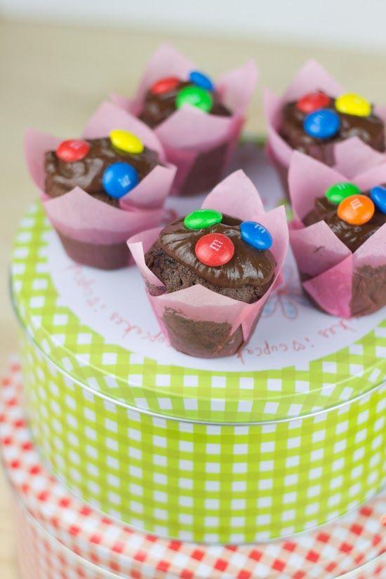 Mini muffins de chocolate con M&M's