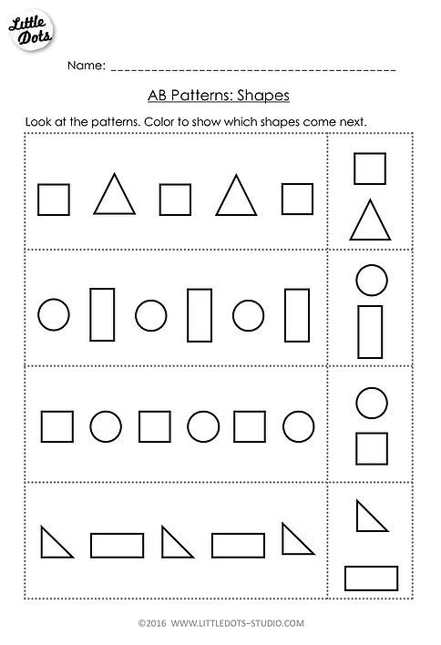 Free AB patterns worksheet on shapes for prek Preschool