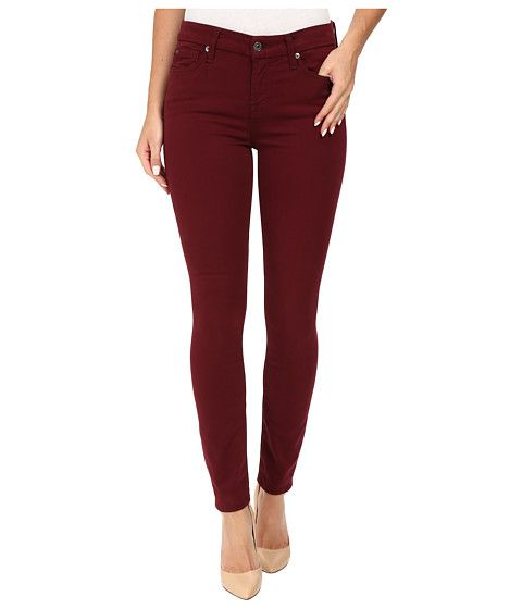 7 For All Mankind The Ankle Skinny in Cranberry