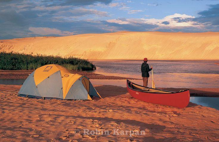 Camping on sandbar in William River, Athabasca Sand Dunes, Saskatchewan. Image taken by Robin Karpan.