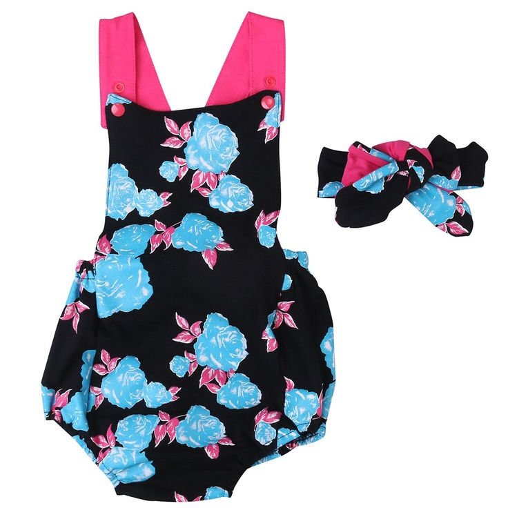 Baby Girls Floral Ruffle Rompers Headband 2pcs Outfits Toddler Sunsuits Set (6-12M, multicolor)