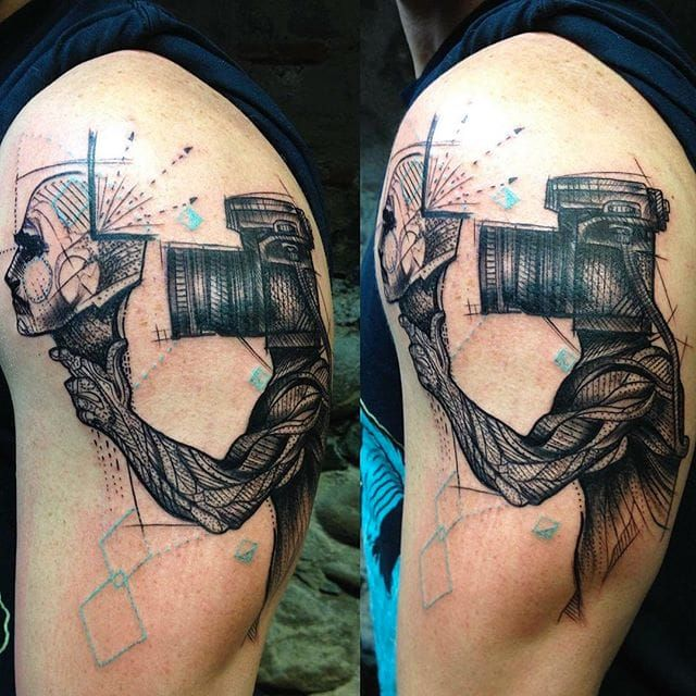 Photography tattoo by Mo Mori. photography camera photo photographer contemporaryart MoMori