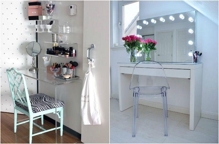 meuble coiffeuse petit espace, miroir lumineux et chaise transparente