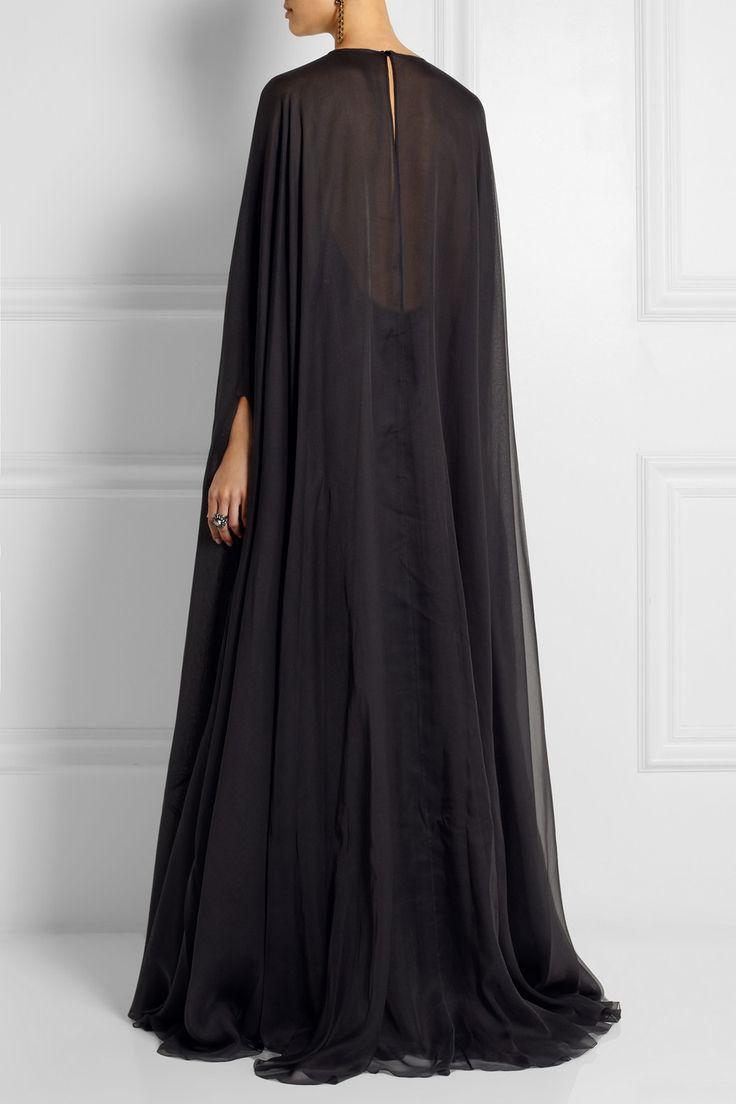 Valentino|Draped silk-chiffon gown|NET-A-PORTER.COM