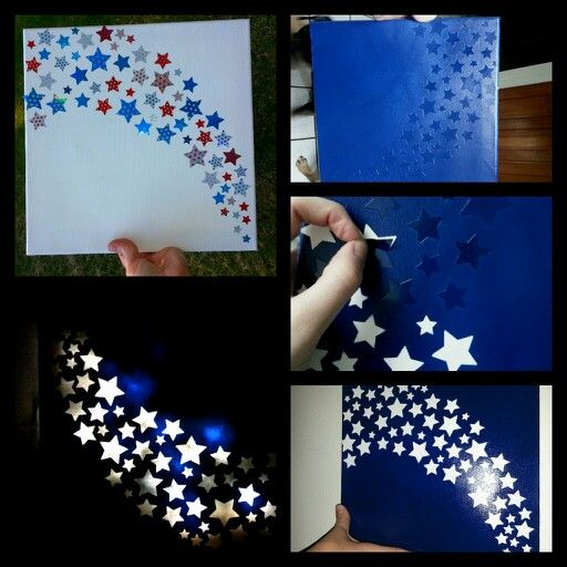 A canvas nightlight for a childs room or a bathroom. 1) Used star stickers and stuck them on a piece of canvas. 2) Spray painted over entire canvas with dark blue. 3) After paint dries, peel stickers off. 4) Put Christmas lights behind canvas and hang. Note: I didn't have any Christmas lights at the time so I used some cheapy one's; brighter lights give off a really cool effect :)