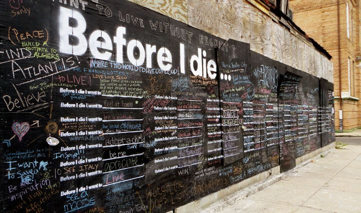 Before-I-Die-NOLA-Candy-Chang- wall-angled: Blackboard Wall, Public Spaces, Buckets Lists, Candy Changing, Before I Die, Public Art, San Francisco, Abandoned Houses, Art Projects