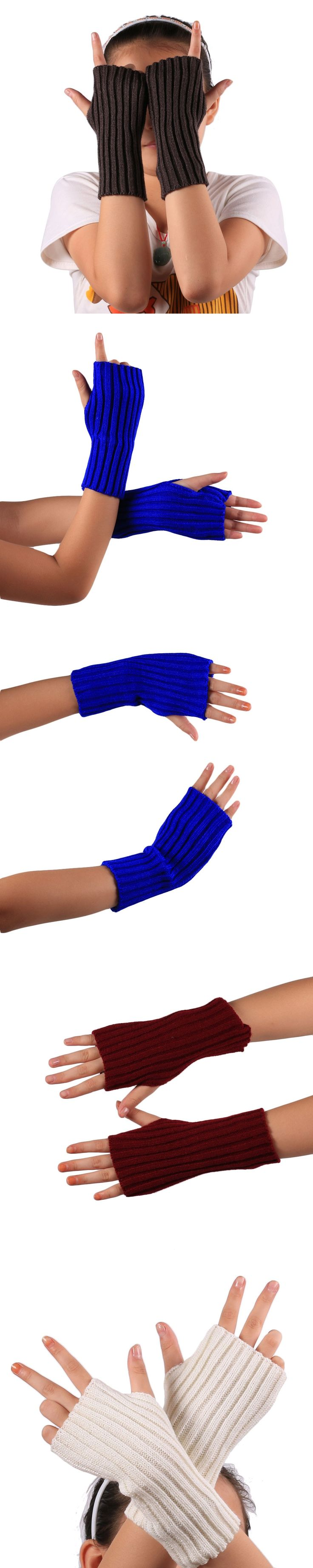 """Knitted Fringe Warm Gloves Knitted striped half finger gloves Acrylic Fibers 22*7cm/8.66*2.75"""" comfortable warm gloves #GH30"""