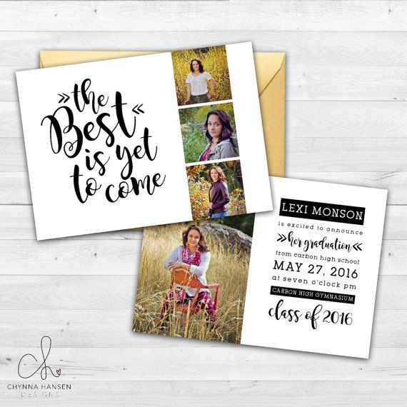 Senior Graduation Announcement  Black and by ChynnaHansenDesigns