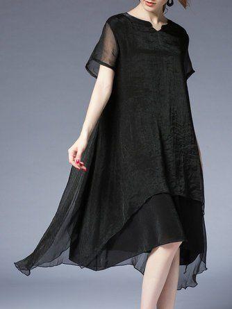 6ca3ba0227 Midi Dress Asymmetrical Daytime Elegant Asymmetric Dress