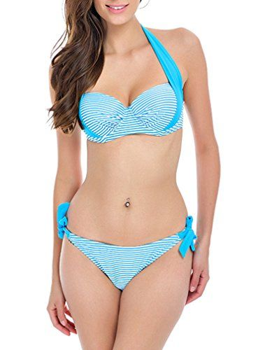 Sexy Bandeau Push Up Bikini Stripped Halter Padded Swimsuit Swimwear-Q808-SPBE4. HaiCoo Own It's Trademark(USPTO Serial Number: 86935166)[Notice, Please Check The Size Chart In The Production Description]. S M L XL 2XL Two Piece Summer Beach Fashion Sexy Floral Blue Green Black White Stripped Bird Printing Halter Swimwear For Women Swimsuits Bathing Suits. 2016 New Style Cute Unique Novelty Floral Ladies Underwire Push Up Cute Bathing Swimming Suits For Ladies Adjusted Tops And Bottom…