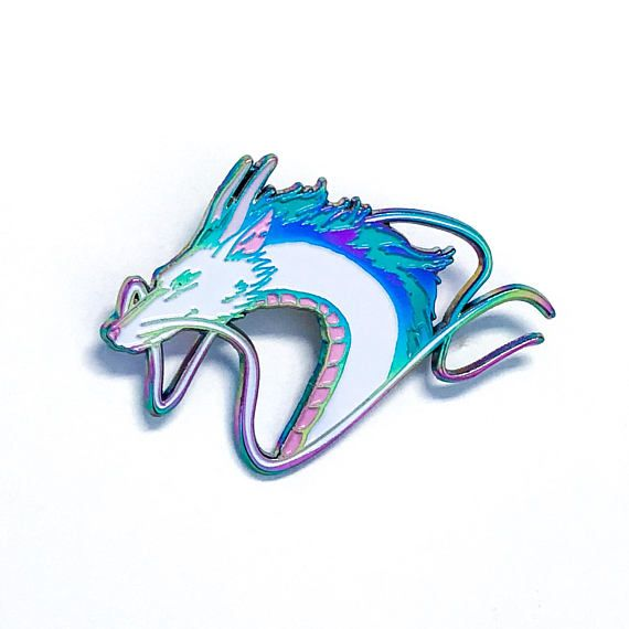 Haku pin Spirited Away soft enamel pin rainbow plated
