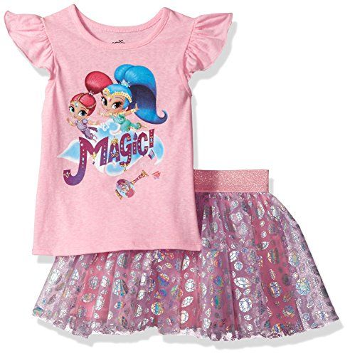Nickelodeon Girls' Shimmer and Shine 2-Piece Skirt Set  Official Viacom license  Playful pink