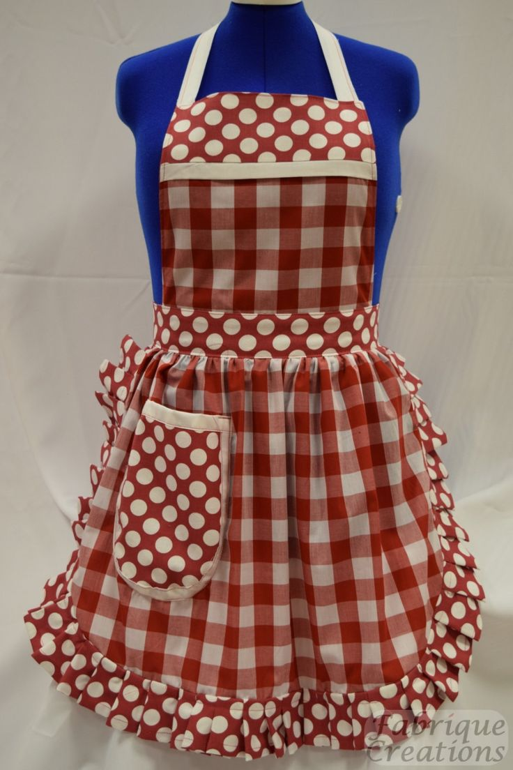 Retro vintage 50s style full apron pinny red white for Apron designs and kitchen apron styles