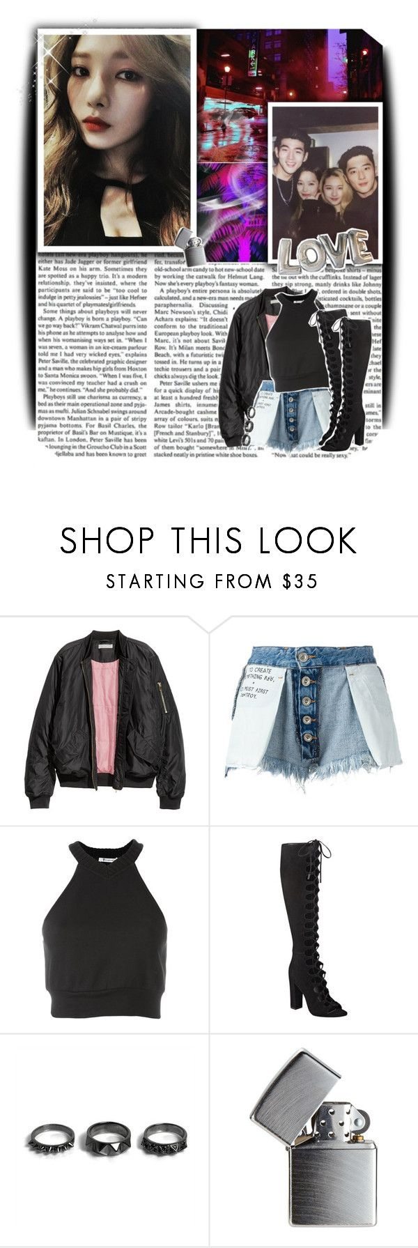 """""""black joker // 396 //"""" by cidinha-001 ❤ liked on Polyvore featuring H&M, Unravel, T By Alexander Wang, Kendall + Kylie, Noir Jewelry, GET LOST, Zippo, 2017, somi and kard"""