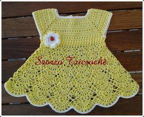 Scorzo Tricroche: Vestido de crochê para bebê