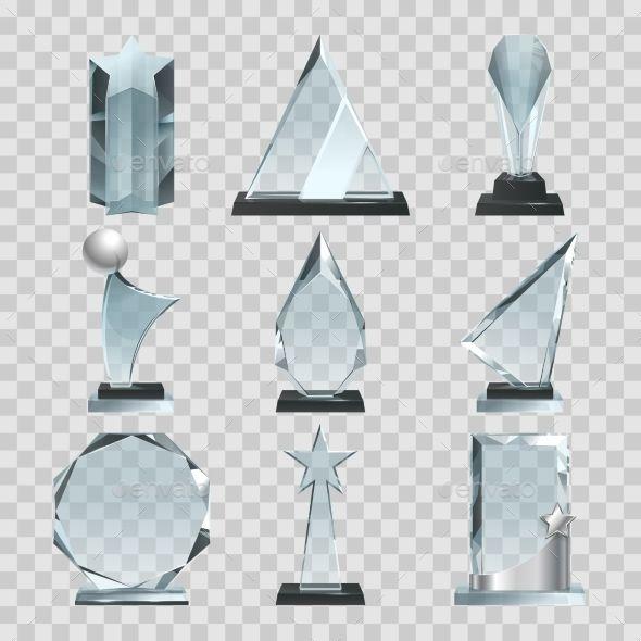 Crystal Glass Trophy Or Awards On Transparent Desain