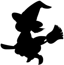 Cartoon Witch Silhouette by ClipartStockPhoto - Cute little wizard girl flying on magic broom cartoon clip art.