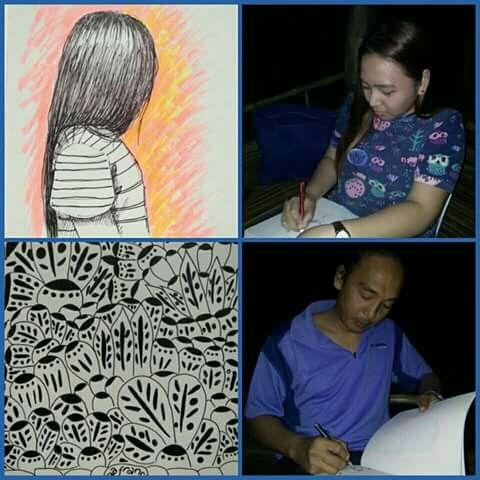 Entries of NEO Angono's SARAH GENEBLAZO and AGA FRANCISCO. January 29, 2017 @ Kinamat Restobar, Angono Rizal.  #sketchbookofgreatness #artistsautograph #onthespot #quicksketch #noreferences #KimnetixNetworx #afkn #arttreasure