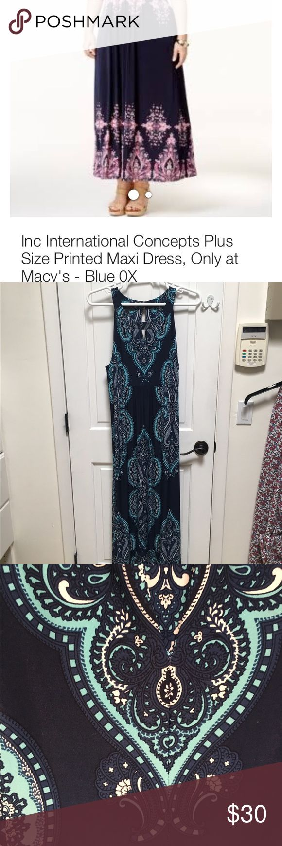 Macy's Inc and Co summer maxi dress Beautiful silky shades of blue paisley maxi dress. Like new! NOTE - cover shot is same dress with different colors. Dresses Maxi
