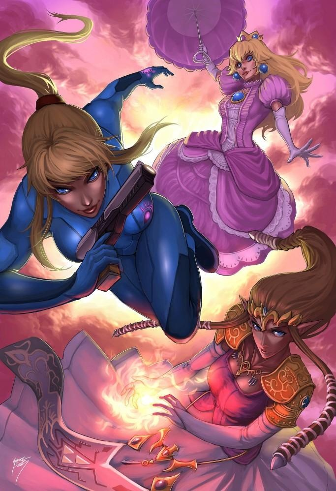 Princess Peach, Zero-Suit Samus, and Princess Zelda. This, would be the last thing you see before you die.