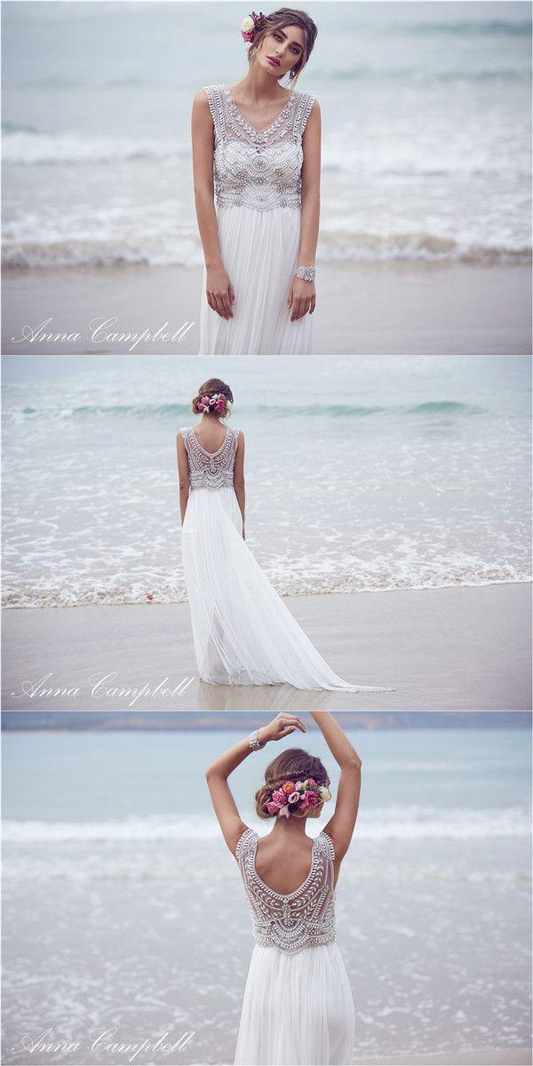 2016 Anna Campbell Boho Hochzeit Brautkleider aus Chiffon und Pailletten Anna Campbell wunderschöne Boho Style Brautkleider Kollektion