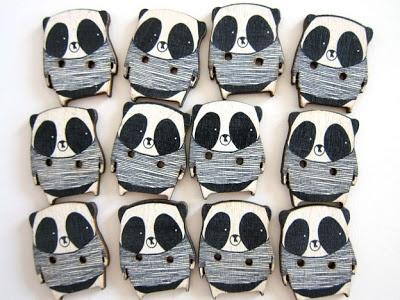 panda wooden buttons