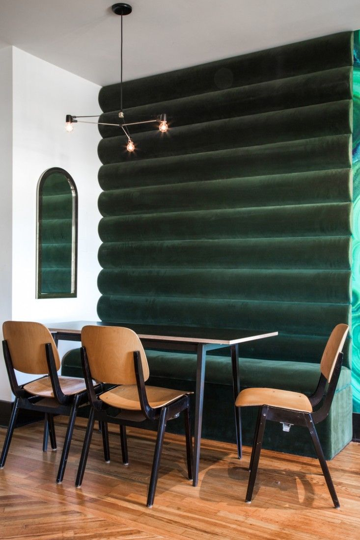 Hotel Covell Green Velvet Wall | Remodelista Looking for more inspiration, home ideas and designs. look at what we do- www.arthomegarden.com www.facebook.com/ArtHomeGarden
