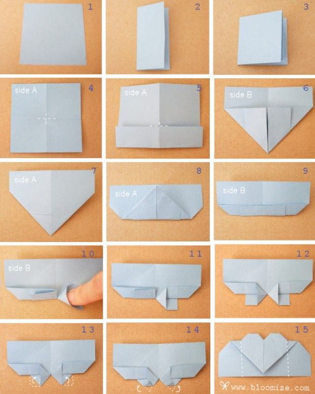 origami bookmarker - paperfolding - heartclip - steps