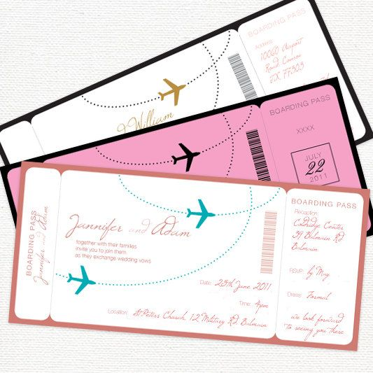 come fly with me boarding pass wedding invitation